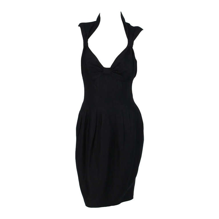 1990s Fendi black linen sweetheart neckline dress For Sale