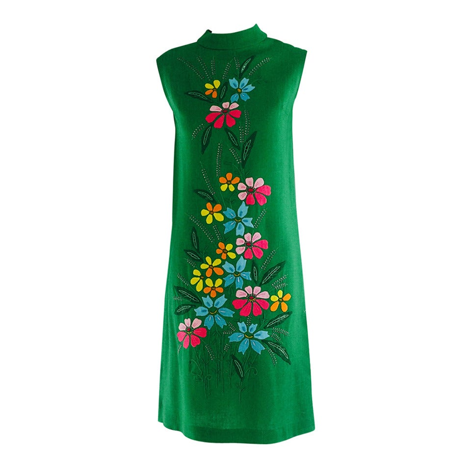 1960s colourful Madeira applique linen shift dress 1
