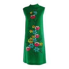 1960s colourful Madeira applique linen shift dress
