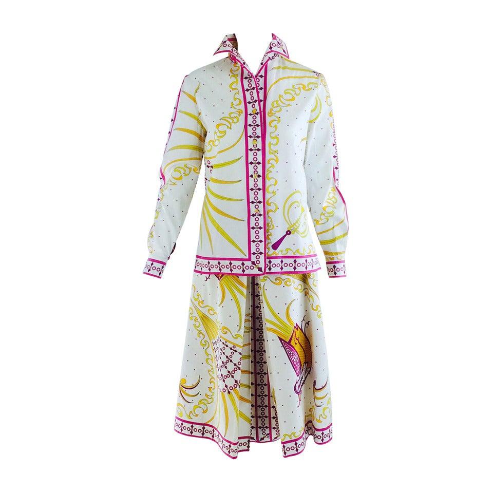 Pucci cotton print blouse & skirt set 1960s For Sale