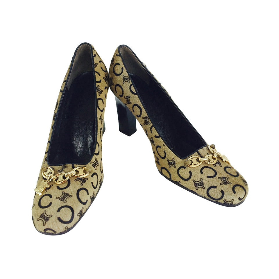 Celine stenciled pony hair logo pumps with gold hardware 37 unworn