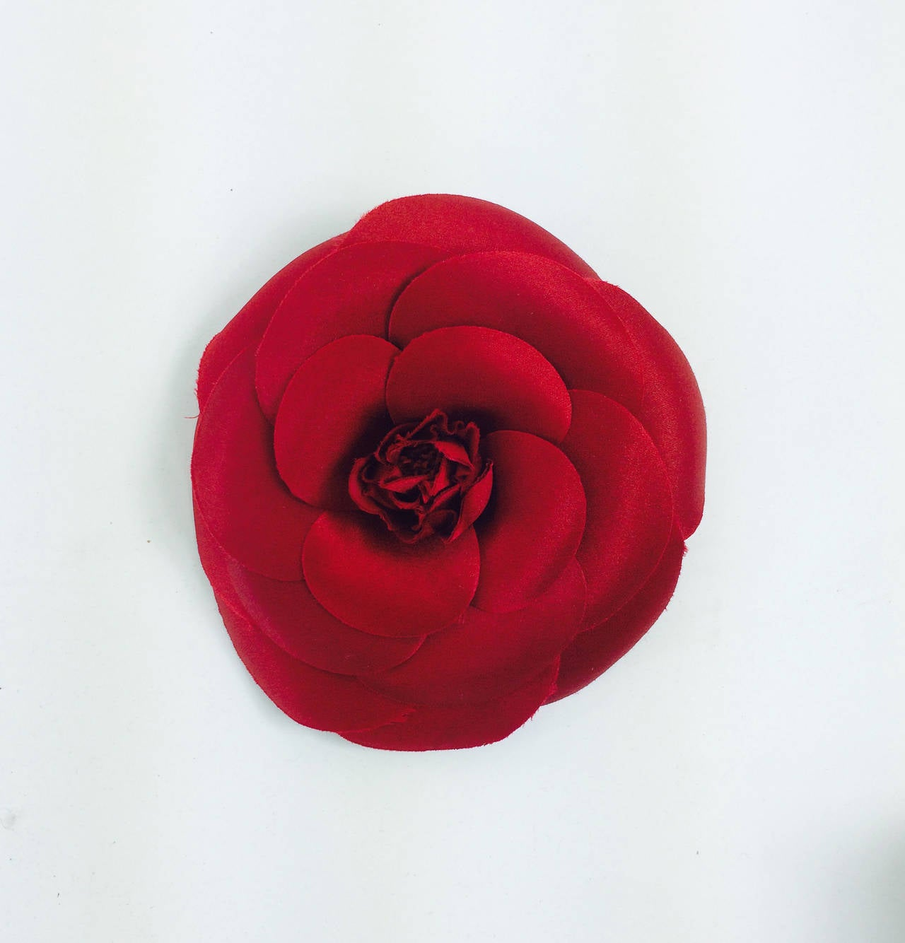 Chanel large deep red silk camellia flower pin in box 2