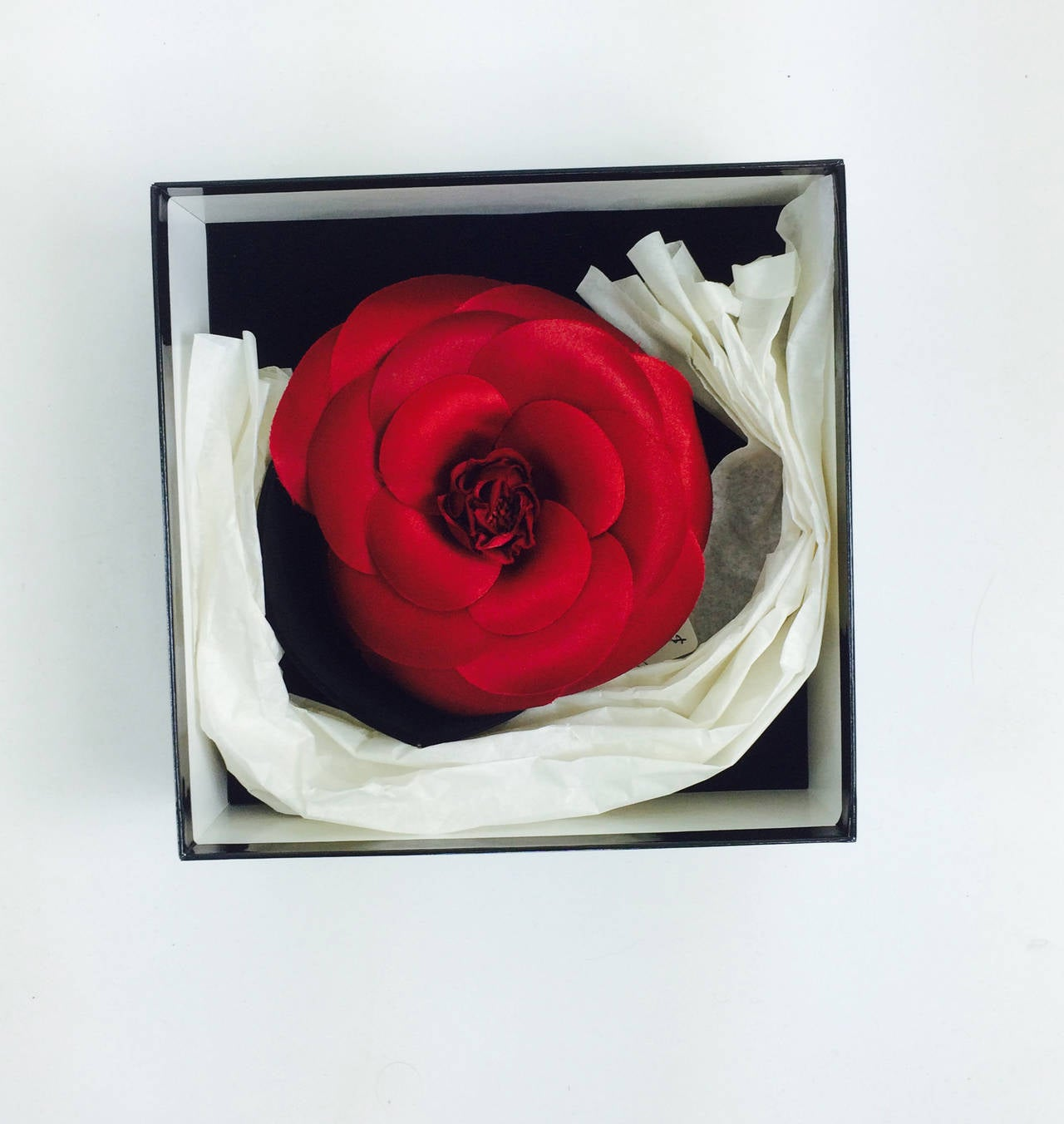 Chanel large deep red silk camellia flower pin in box 3
