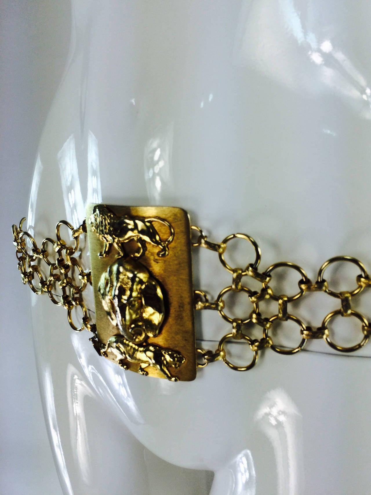 1970s Christian Dior jungle safari chain belt 8