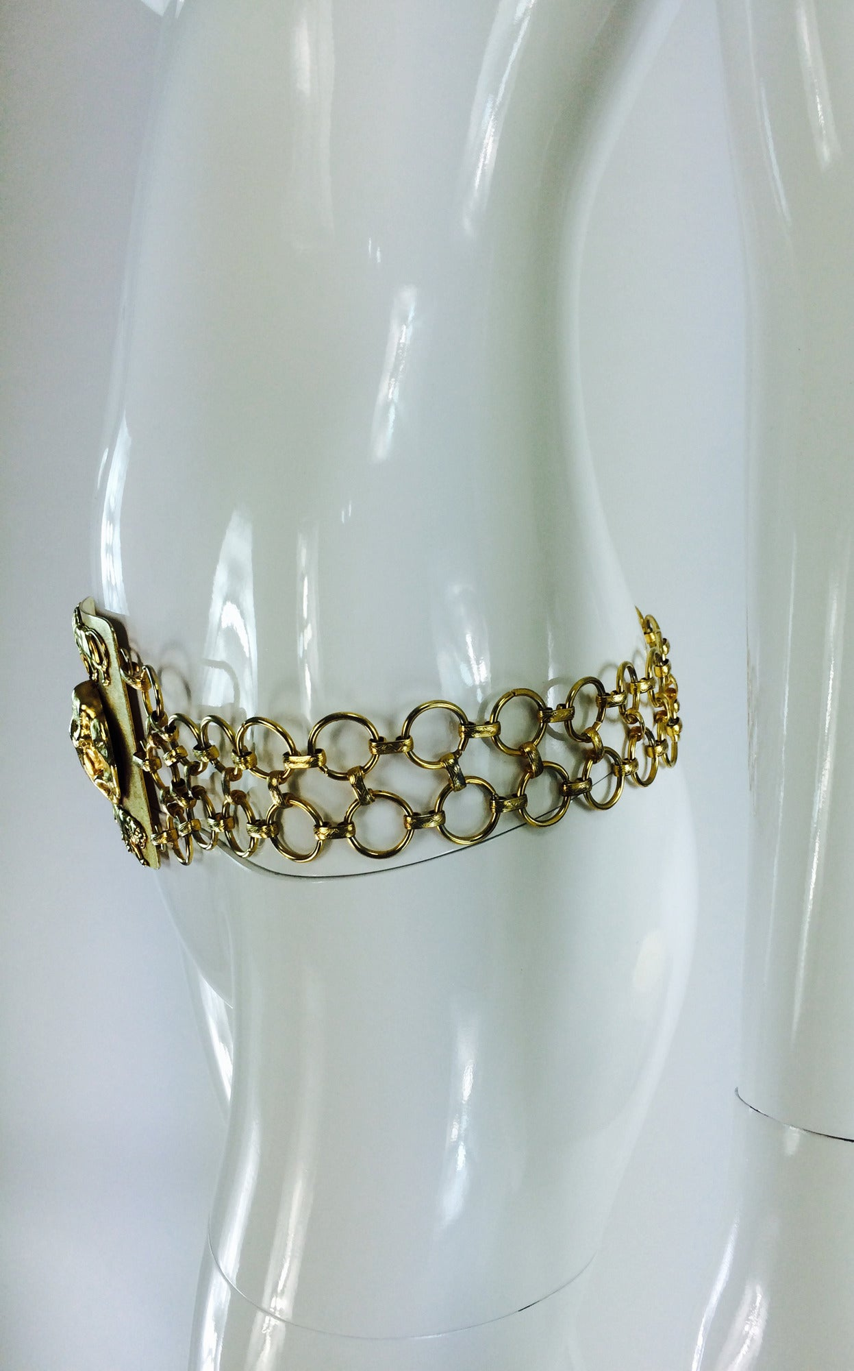 1970s Christian Dior jungle safari chain belt 7