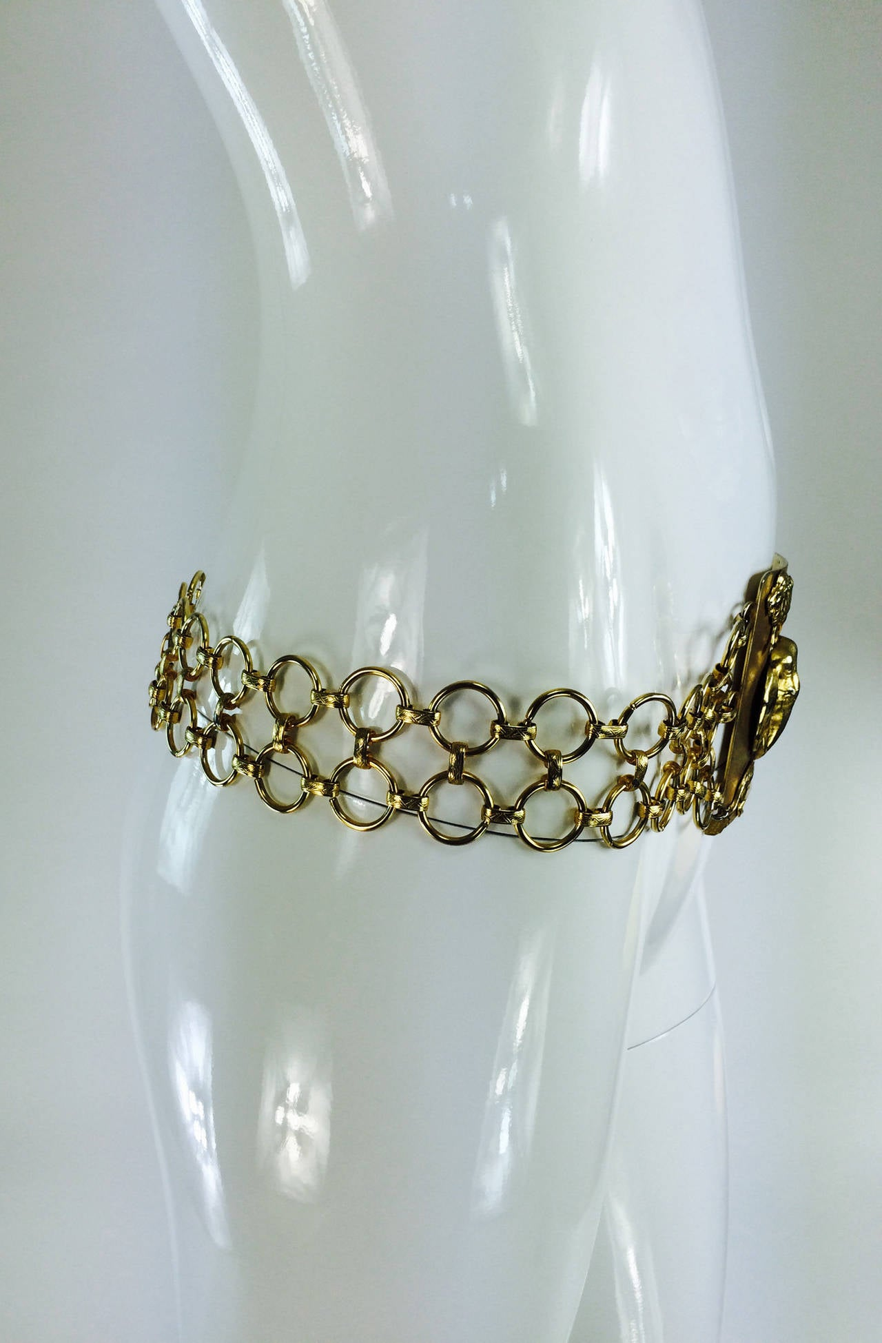 1970s Christian Dior jungle safari chain belt 4
