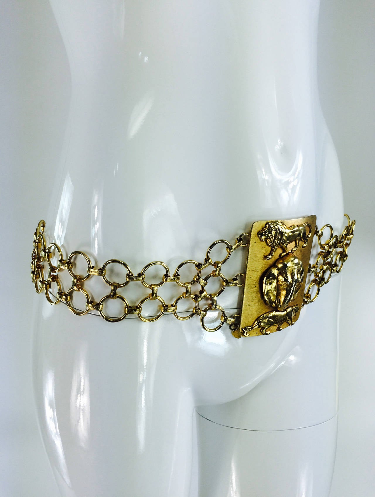 1970s Christian Dior jungle safari chain belt 3