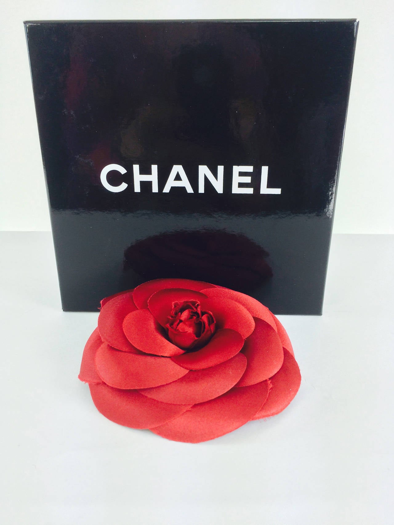 Chanel large deep red silk camellia flower pin in box 5