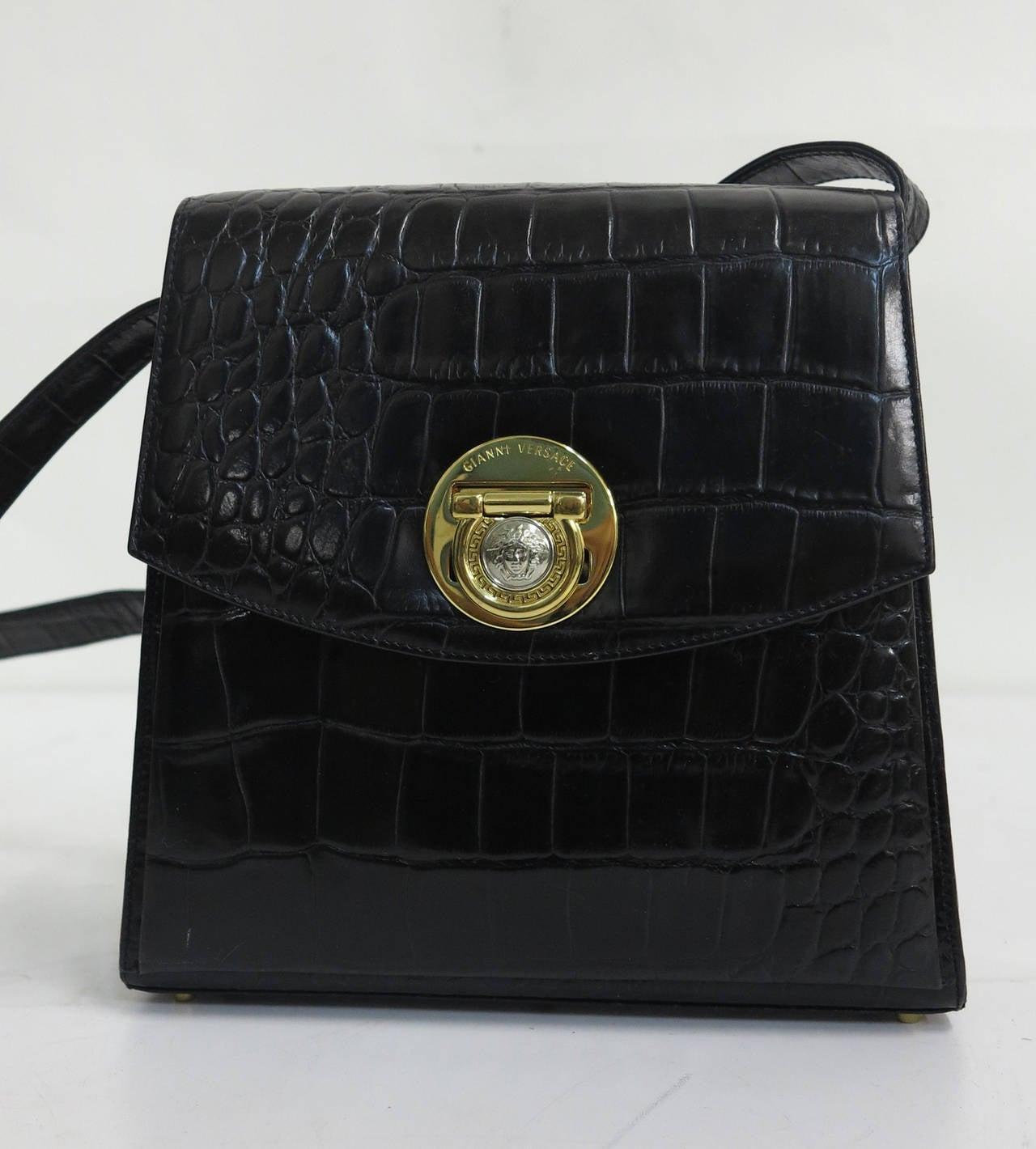 New Gianni Versace black alligator embossed leather shoulder bag...Flap bag  with Medusa 9ef1ffed3bbfc