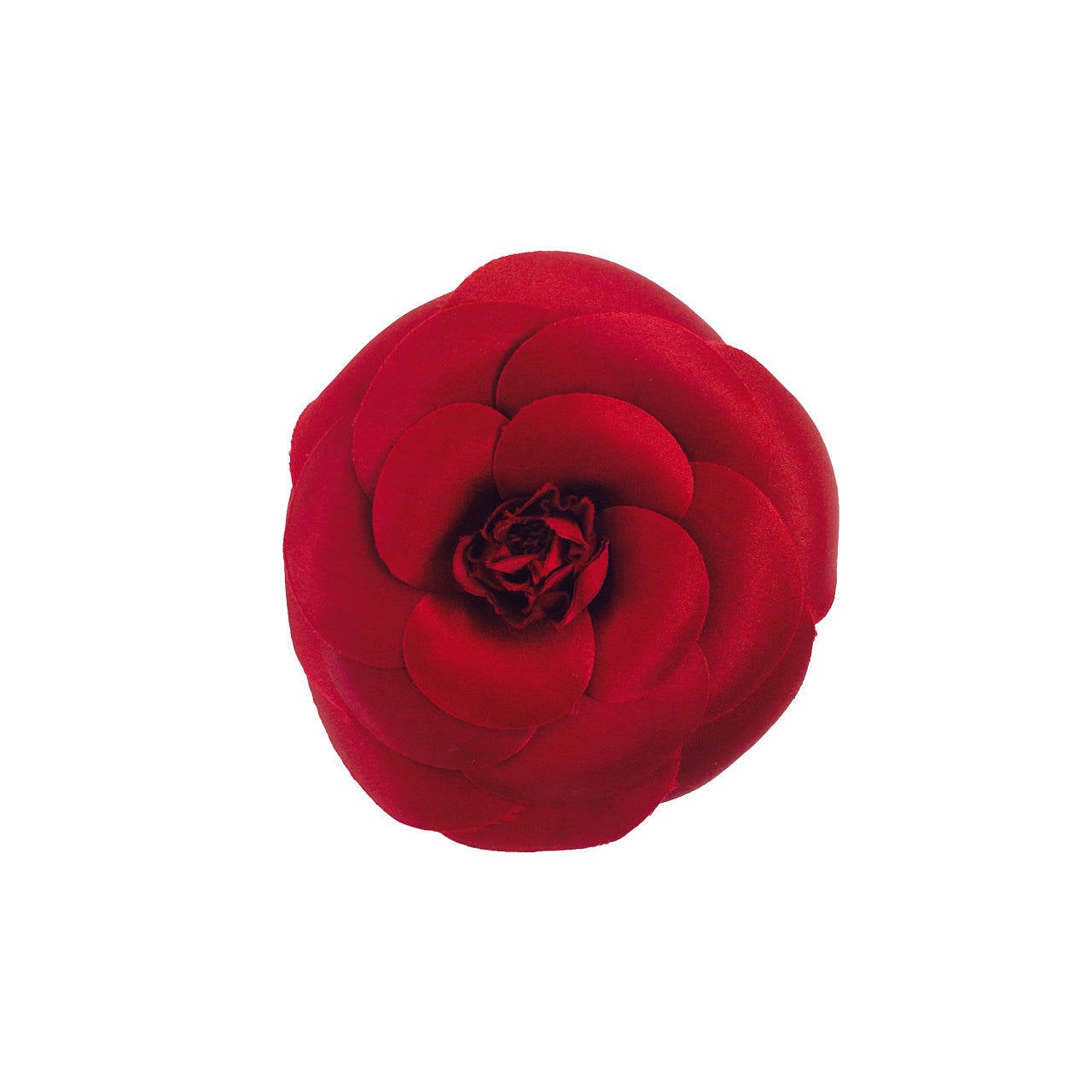 Chanel large deep red silk camellia flower pin in box 1