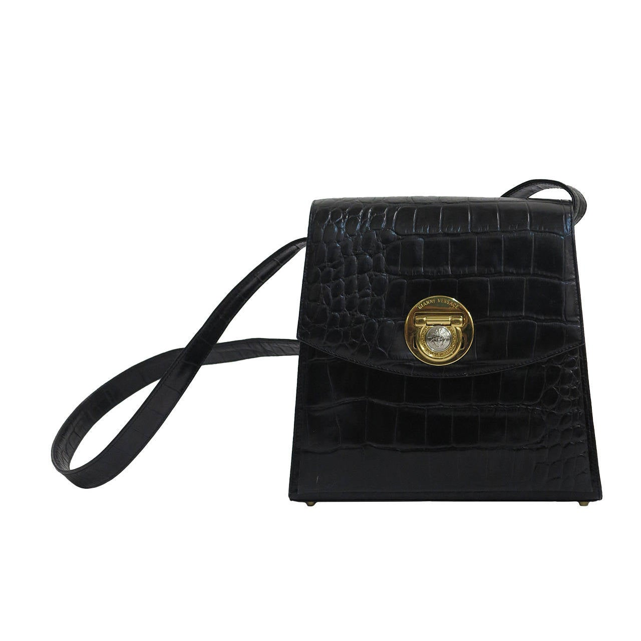 Versace Medusa black alligator embossed leather hand bag For Sale at ... 38e03061735e3