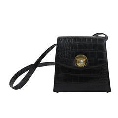 Versace Medusa black alligator embossed leather hand bag