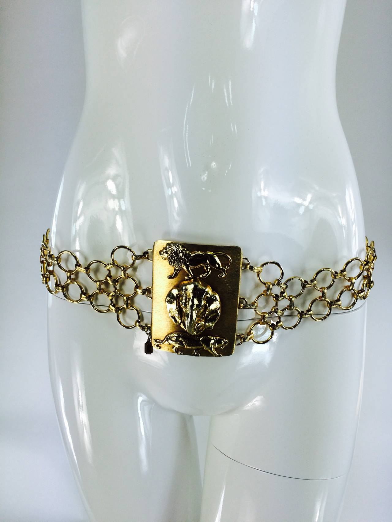 1970s Christian Dior jungle safari chain belt 2