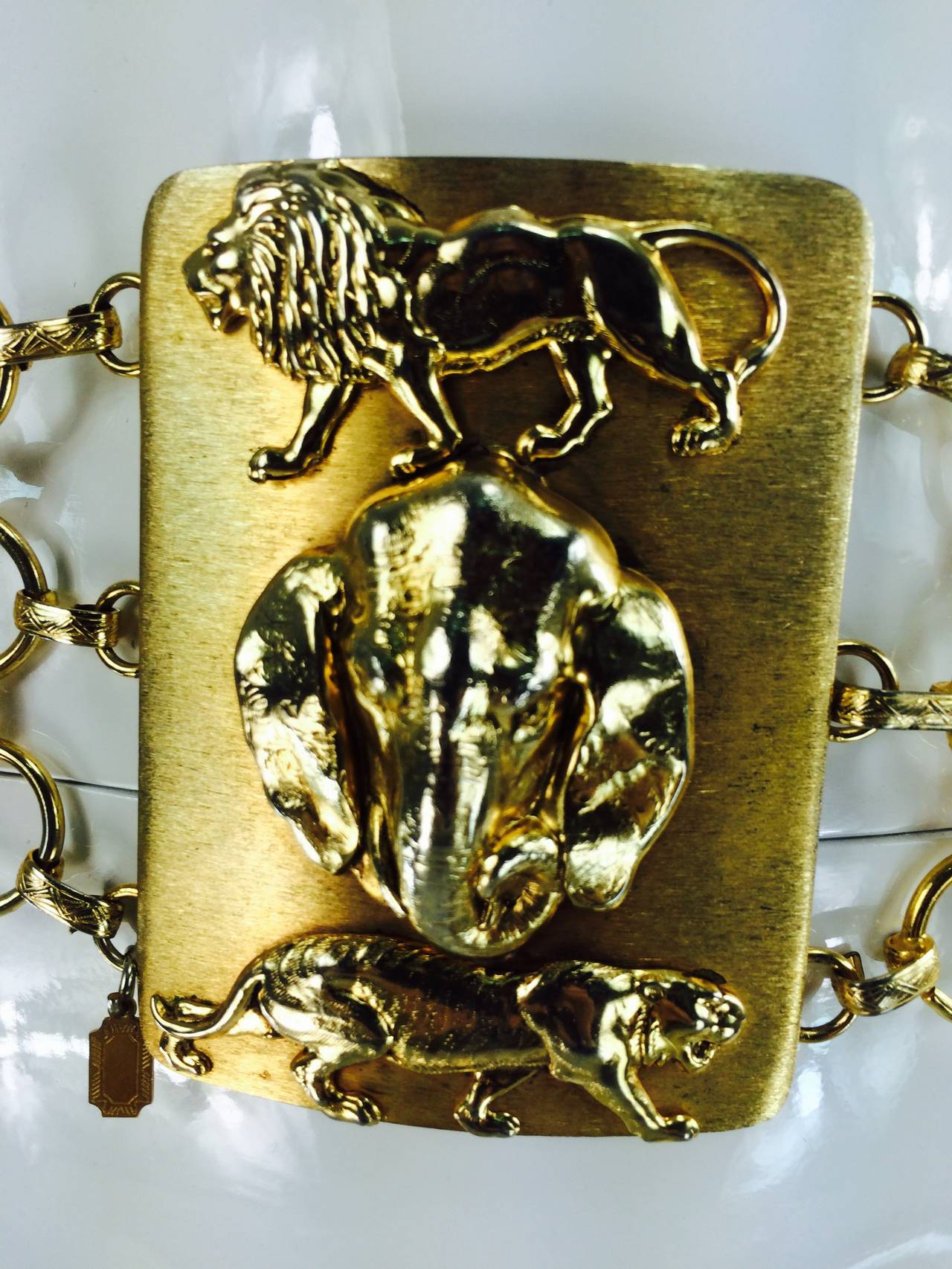 1970s Christian Dior jungle safari chain belt 9