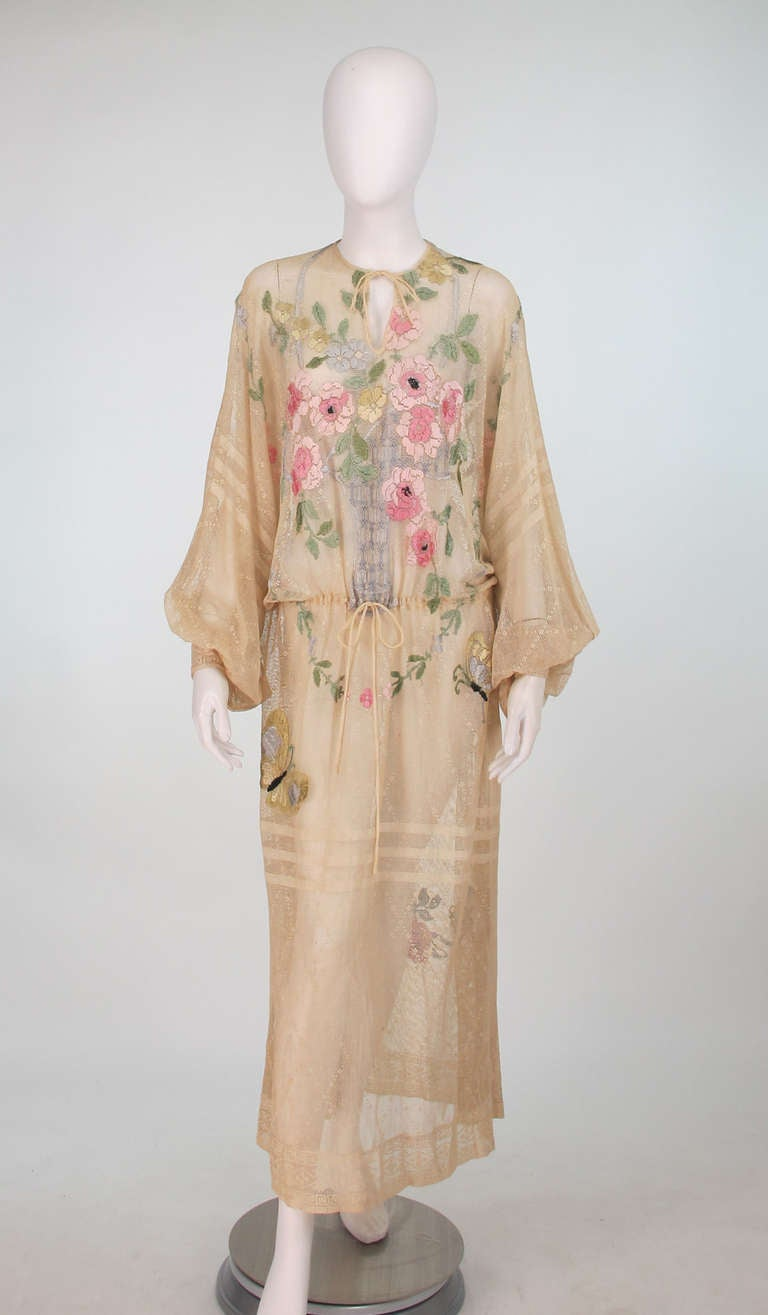 1920s Aesthetic Movement Embroidered Net Dress At 1stdibs