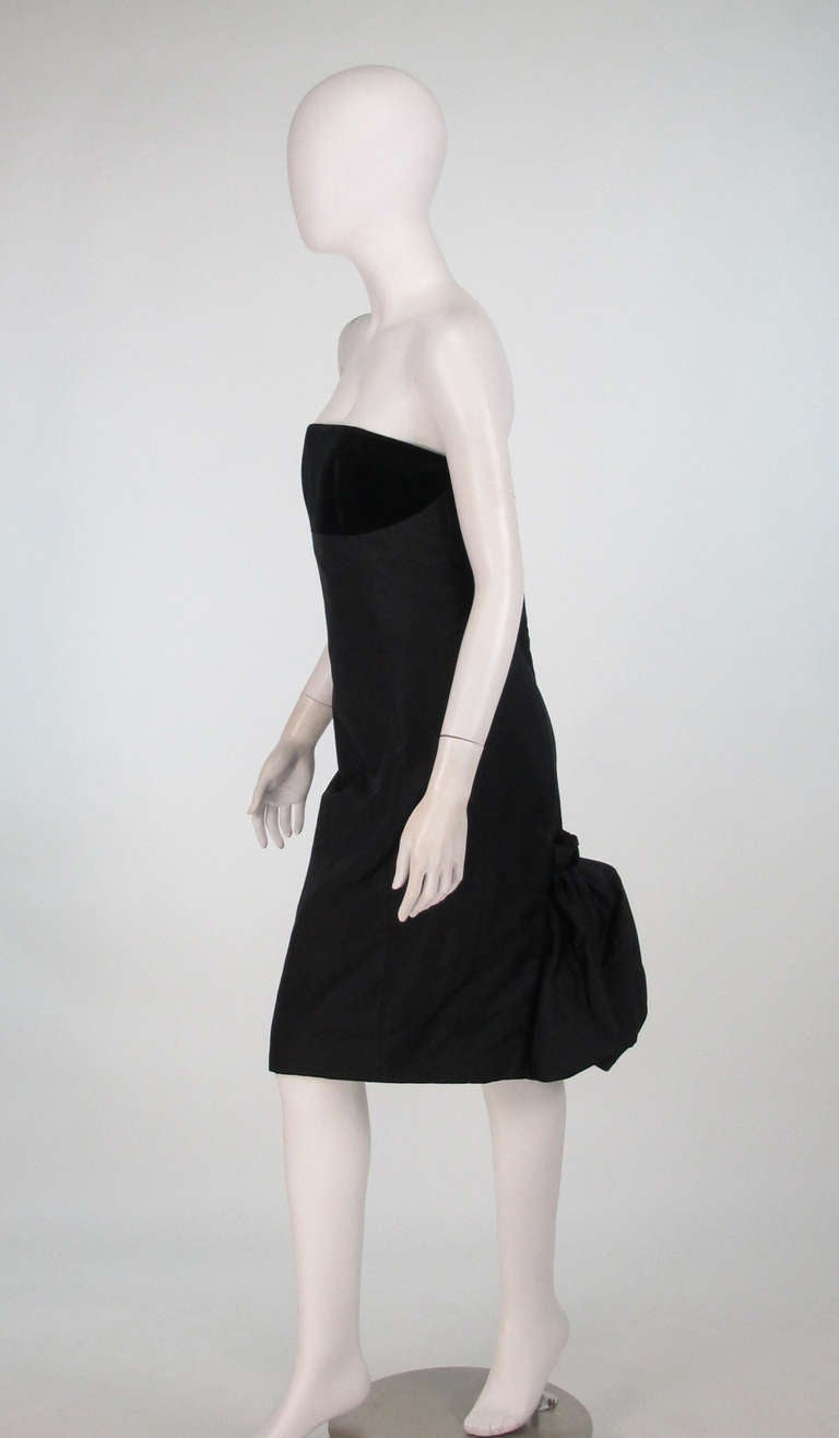 Black 1990s Escada black silk/velvet bubble tail cocktail dress For Sale