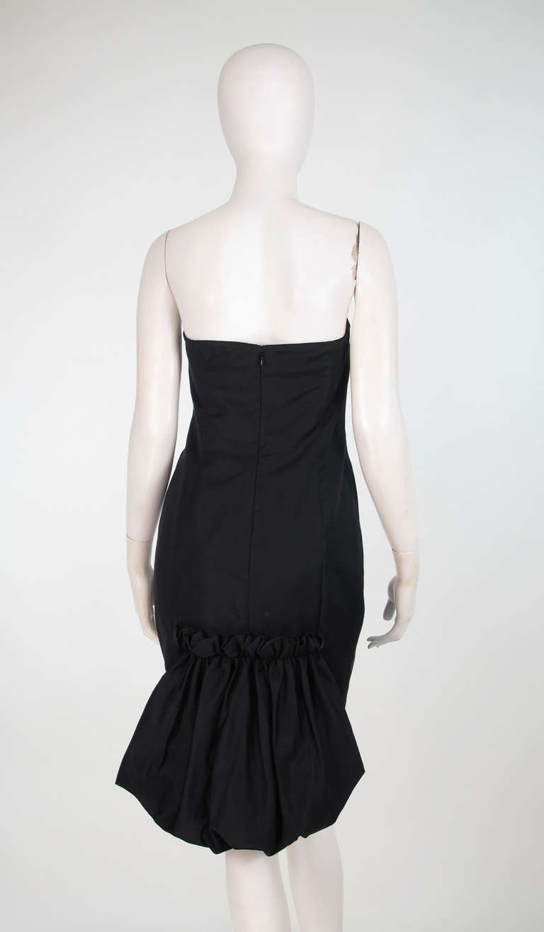 1990s Escada black silk/velvet bubble tail cocktail dress In Excellent Condition For Sale In West Palm Beach, FL