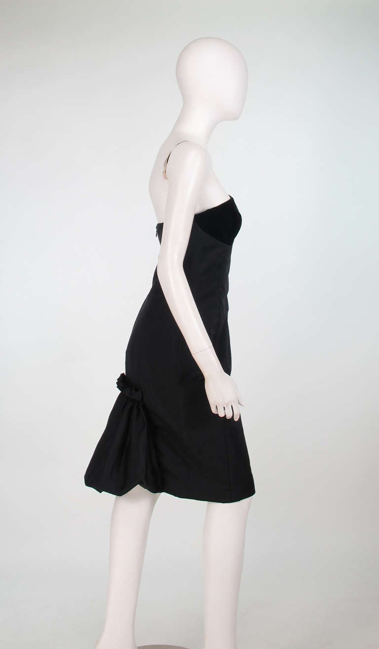 1990s Escada black silk/velvet bubble tail cocktail dress For Sale 1