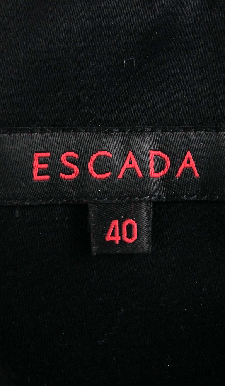 1990s Escada black silk/velvet bubble tail cocktail dress For Sale 3