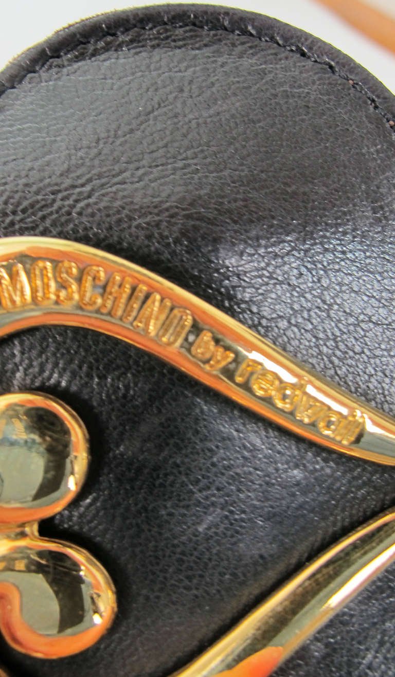 1980s Moschino Redwall leather hearts belt For Sale 2