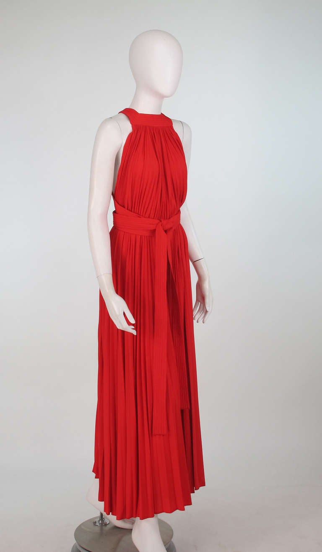 1960s Adele Simpson tomato red halter neck pleated maxi dress 3