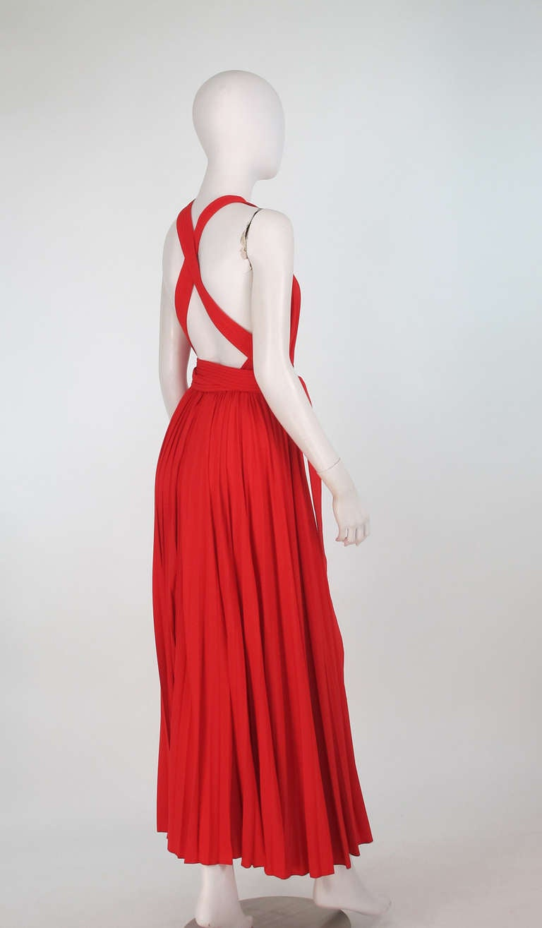 1960s Adele Simpson tomato red halter neck pleated maxi dress For Sale 1