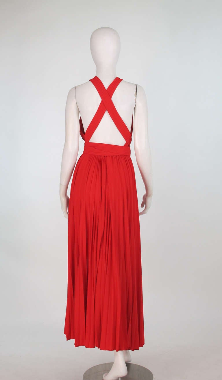1960s Adele Simpson tomato red halter neck pleated maxi dress For Sale 2