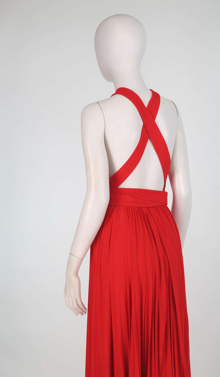 1960s Adele Simpson tomato red halter neck pleated maxi dress For Sale 3