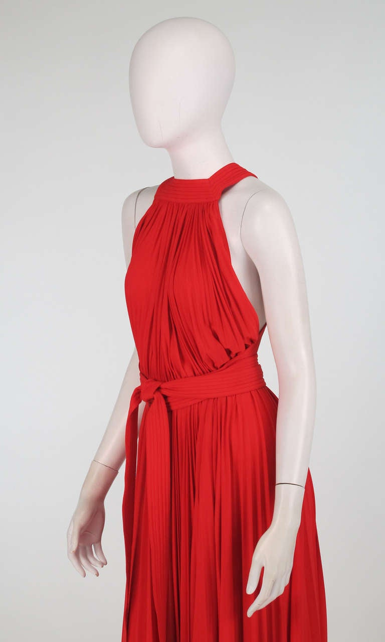 1960s Adele Simpson tomato red halter neck pleated maxi dress For Sale 4