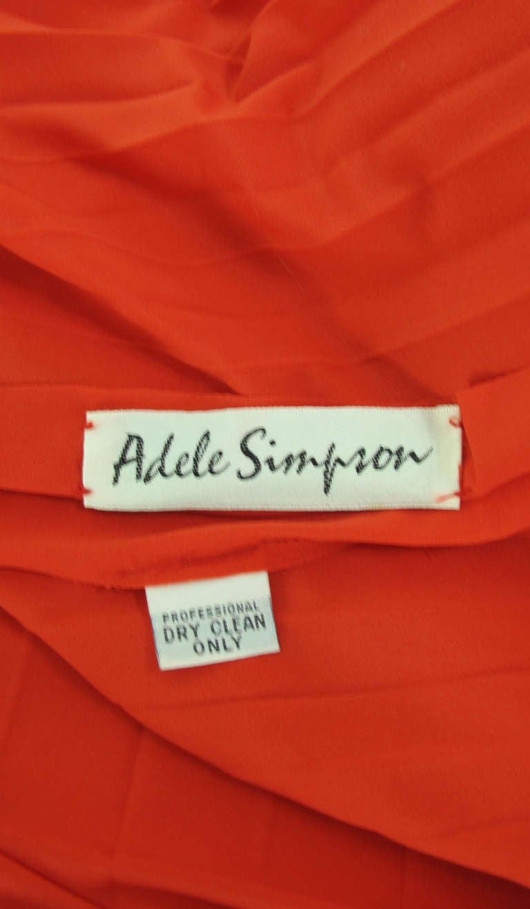 1960s Adele Simpson tomato red halter neck pleated maxi dress For Sale 5
