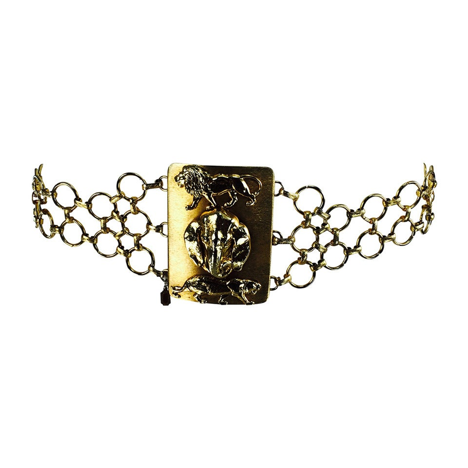 1970s Christian Dior jungle safari chain belt 1