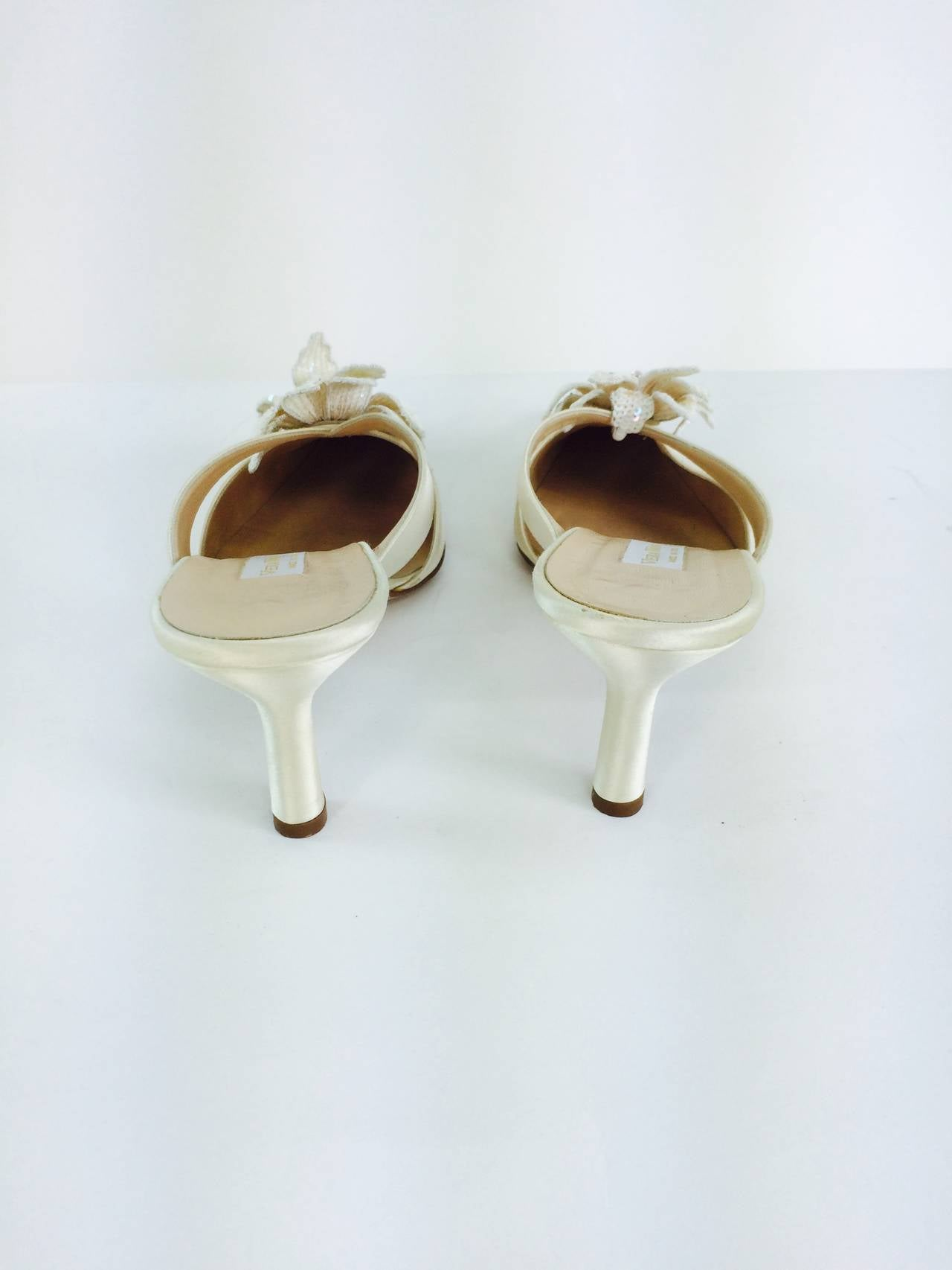 Vera Wang champagne silk sequin flower wedding shoes 4