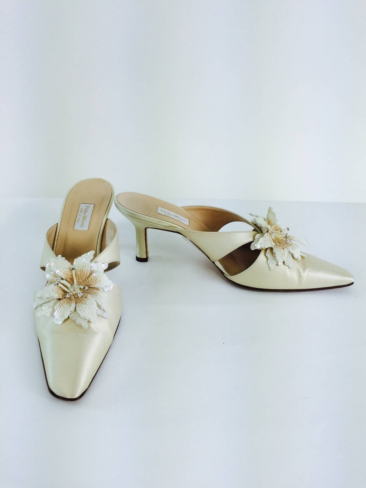 Vera Wang champagne silk sequin flower wedding shoes 3
