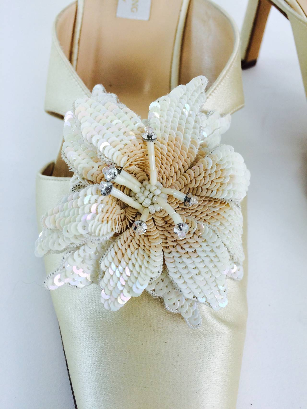 Vera Wang champagne silk sequin flower wedding shoes 2