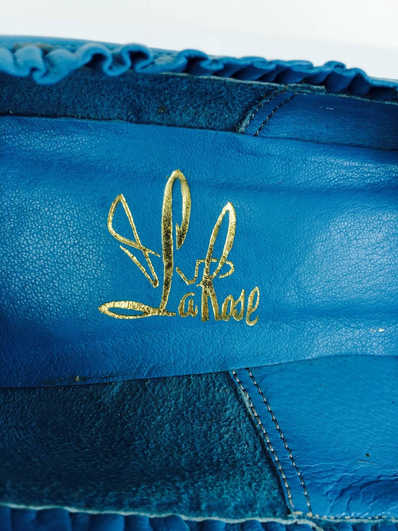 Margaret Jerrold turquoise Louis heel pumps  8 1/2 N unworn 1960s For Sale 2