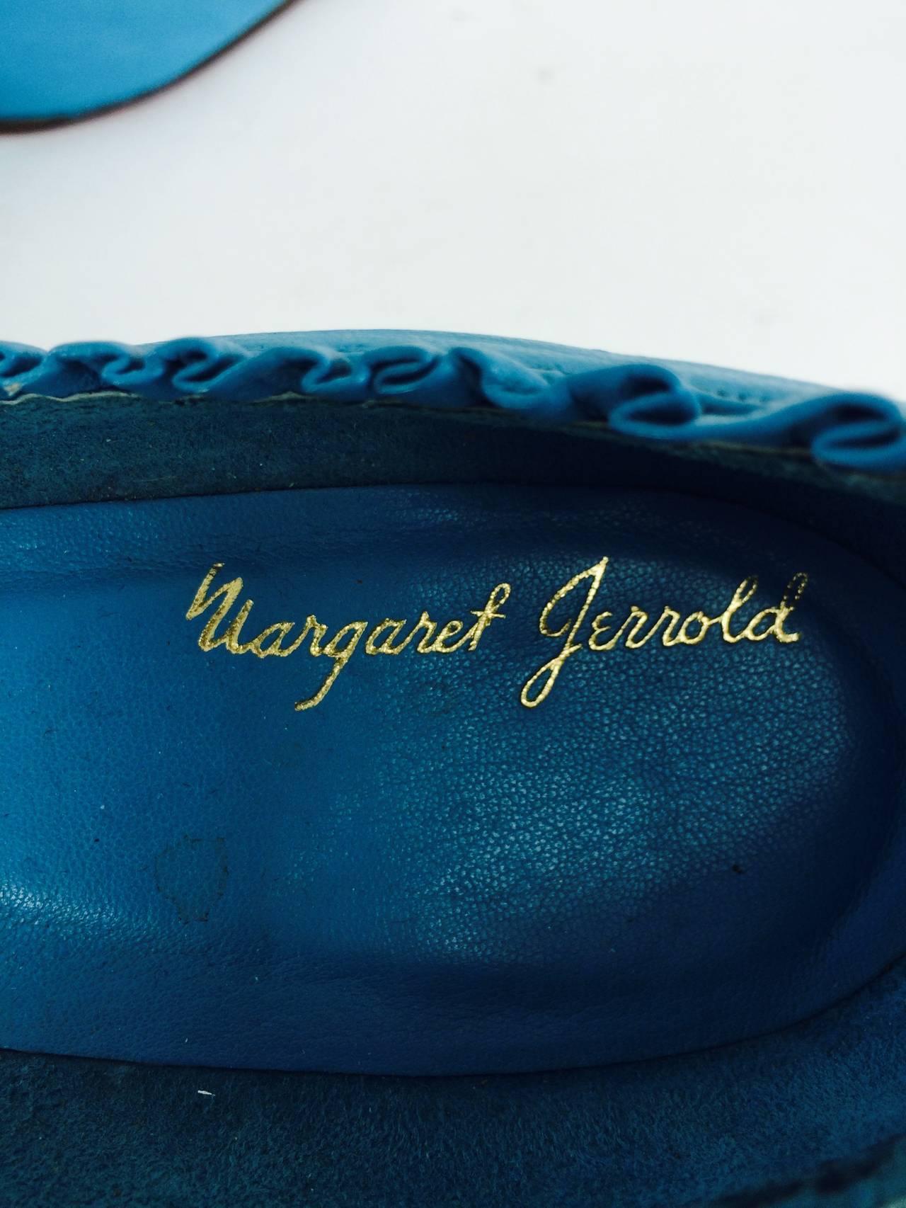 Margaret Jerrold turquoise Louis heel pumps  8 1/2 N unworn 1960s For Sale 1