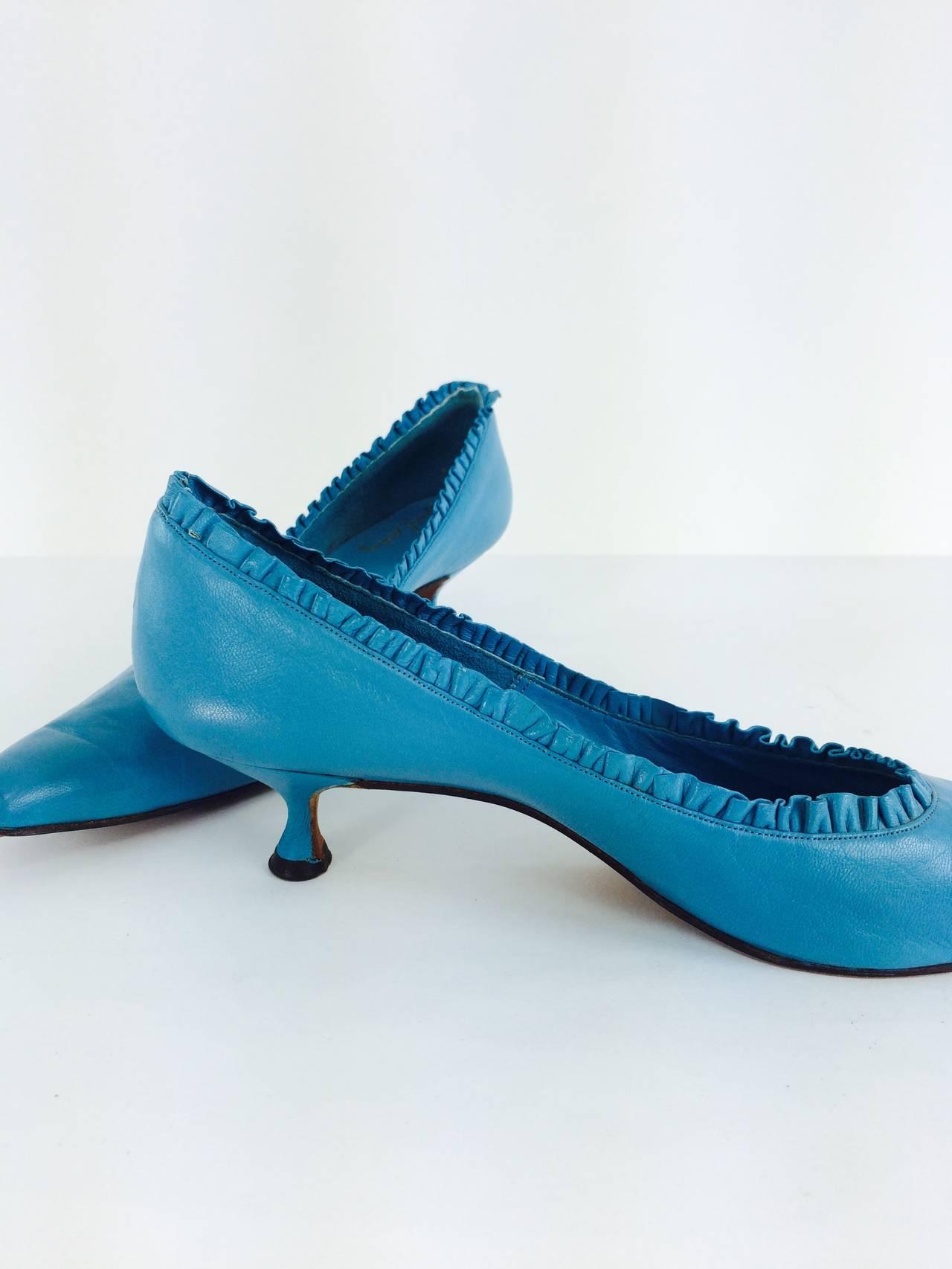 Margaret Jerrold turquoise Louis heel pumps  8 1/2 N unworn 1960s 3
