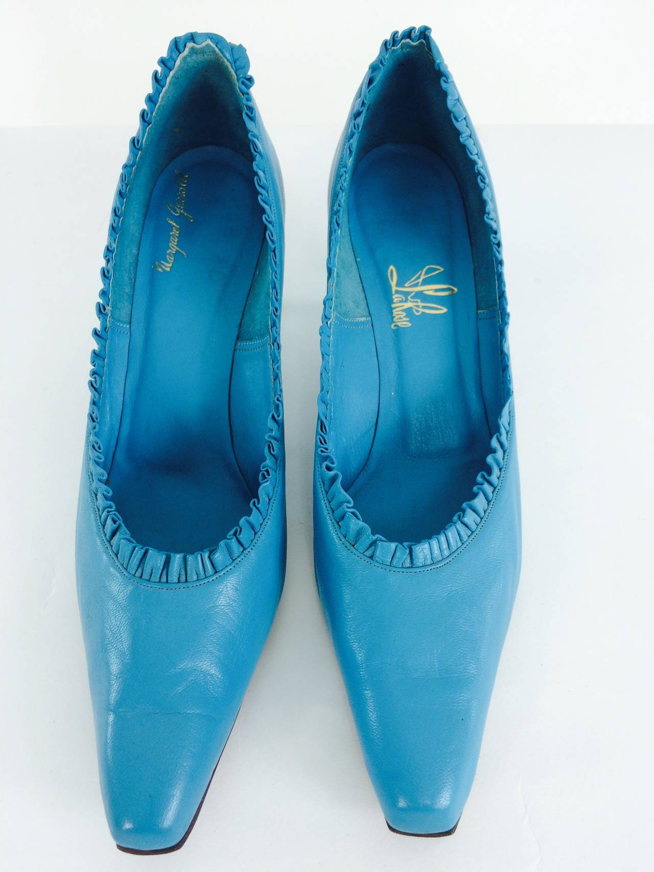 """Jerry Miller was the grandson of I Miller the shoe king...He married Margaret Clark, a designer who trained at Parsons, in the early 1950s, together they set up their own company, """"Shoe Biz"""", selling her designs under the  """"Margaret Jerrold"""""""