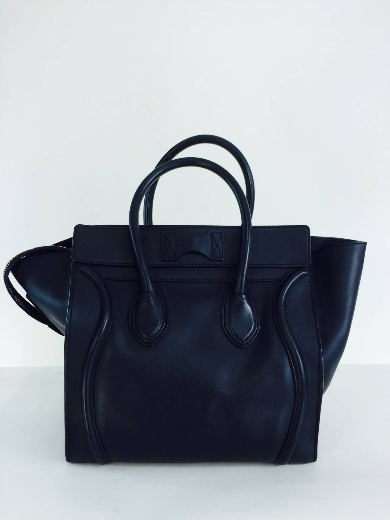 Celine Mini Luggage Tote In Navy Blue Smooth Calfskin Leather With Burnished Gold Hardware