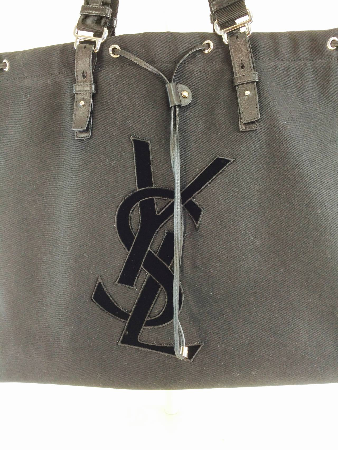 YSL Yves St Laurent black canvas and leather tote bag at 1stdibs