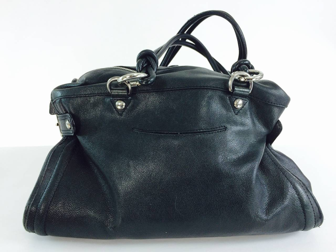 1stdibs Costume National Black Leather Double Handle Satchel Handbag n7uhw