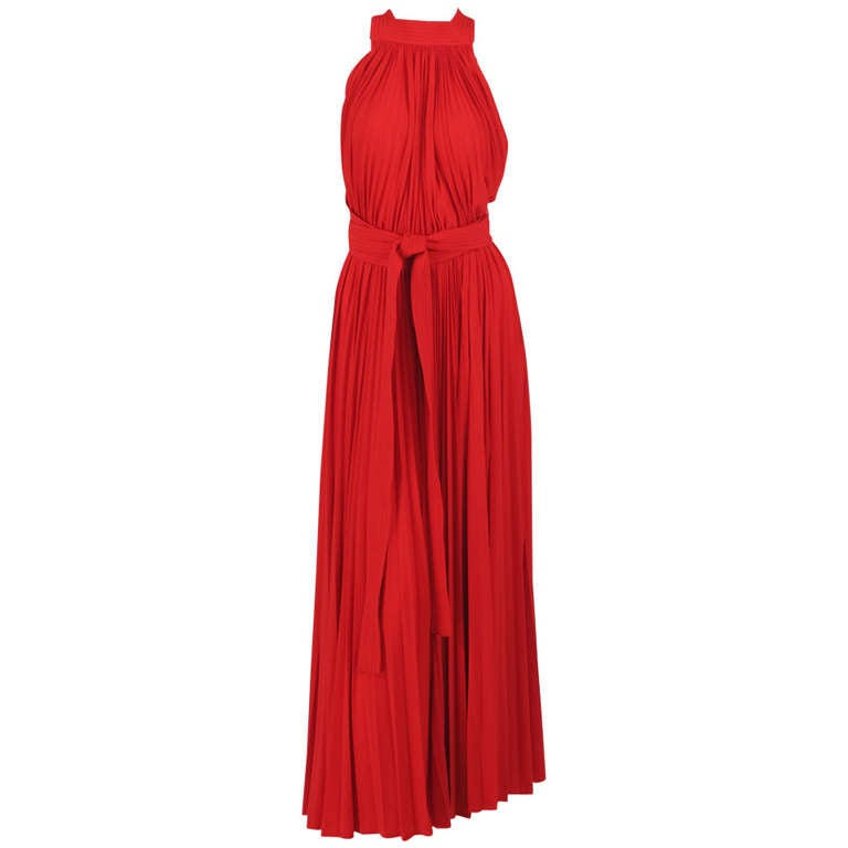 1960s Adele Simpson tomato red halter neck pleated maxi dress For Sale