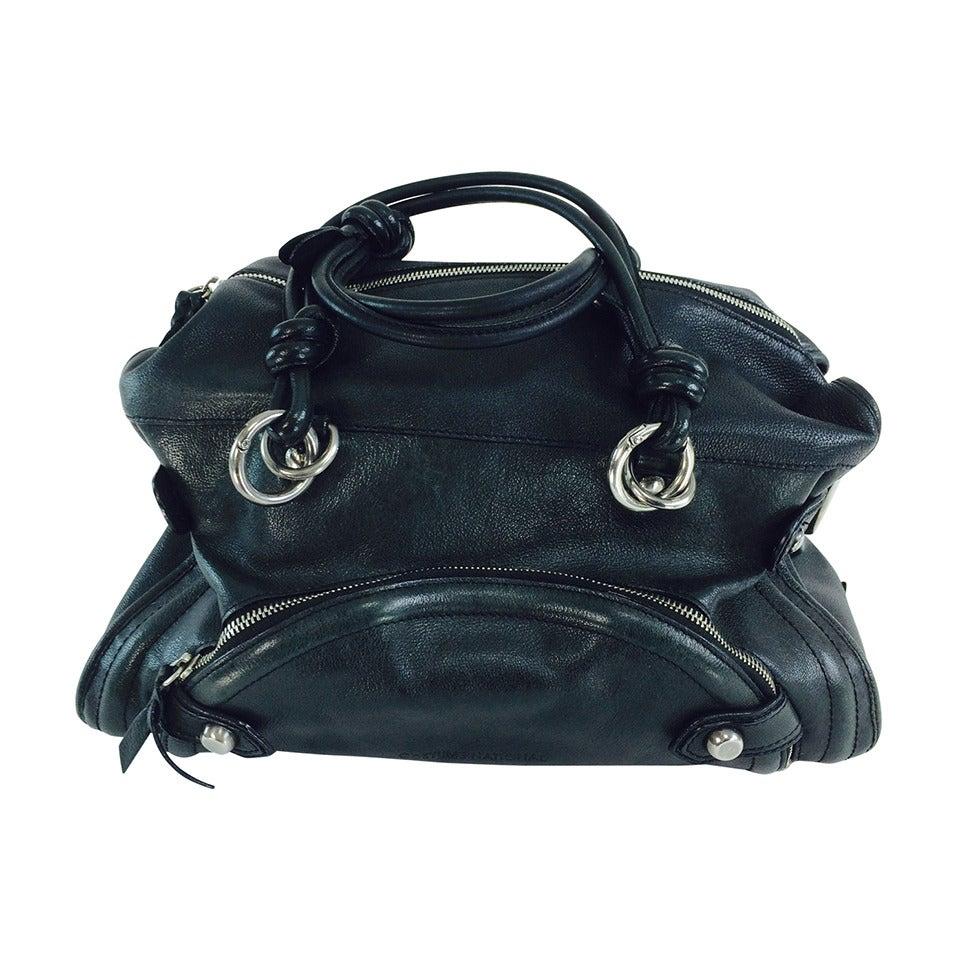 Costume National black leather double handle satchel handbag