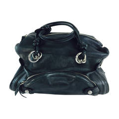 Costume National black leather double handle satchel handbag