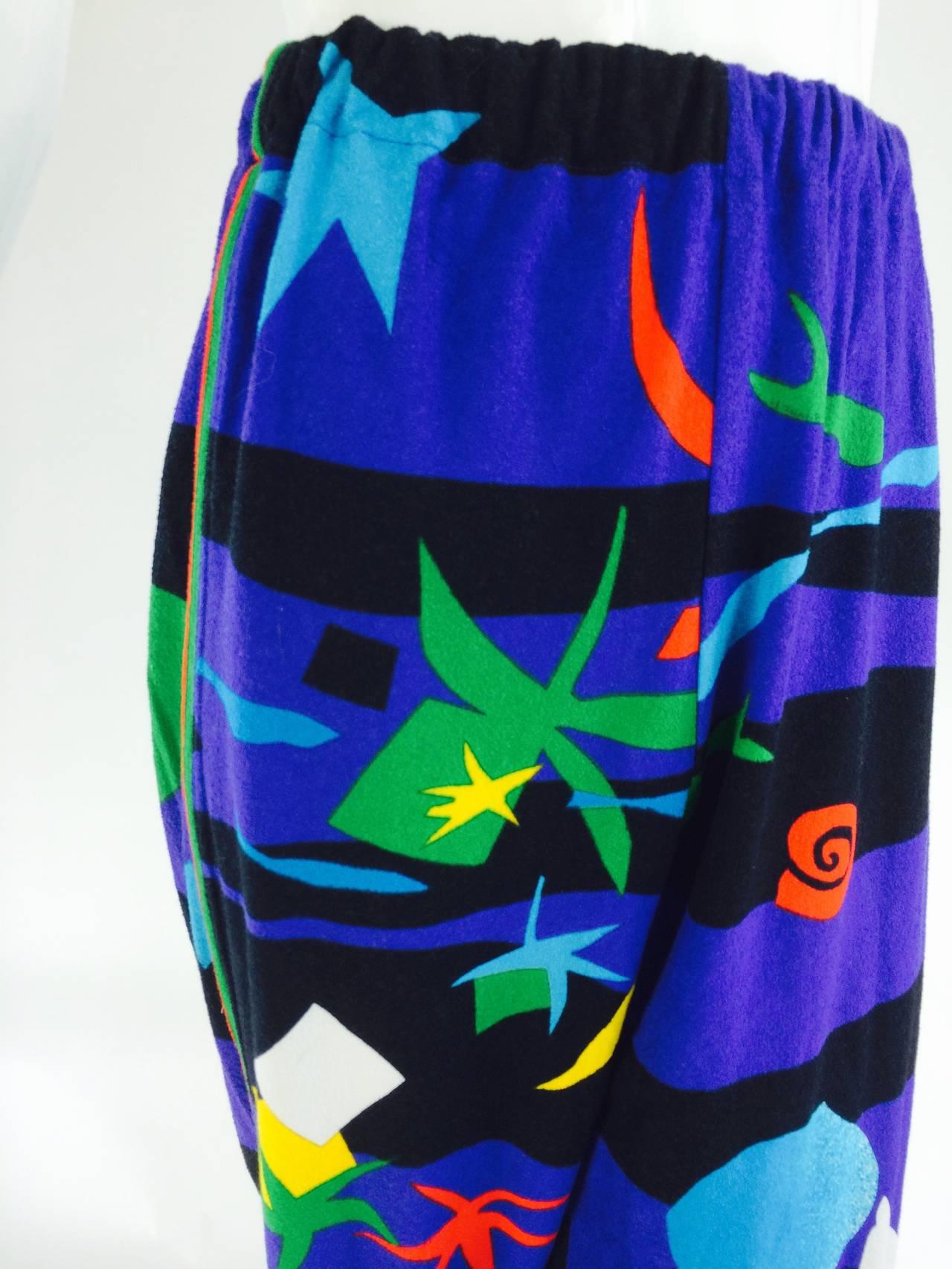 Leonard Paris sea print textured cotton sport pant 1980s For Sale 3