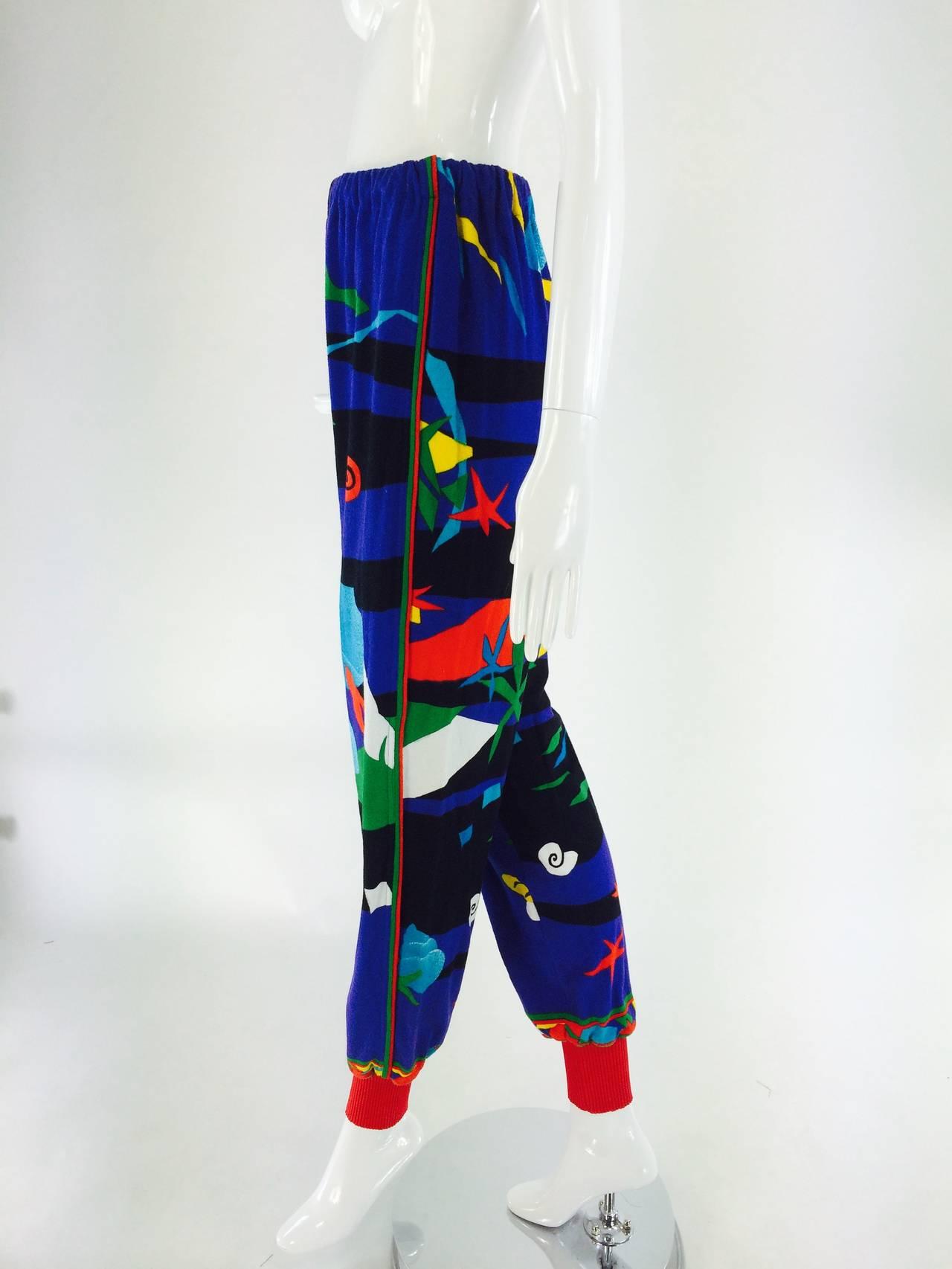 Purple Leonard Paris sea print textured cotton sport pant 1980s For Sale