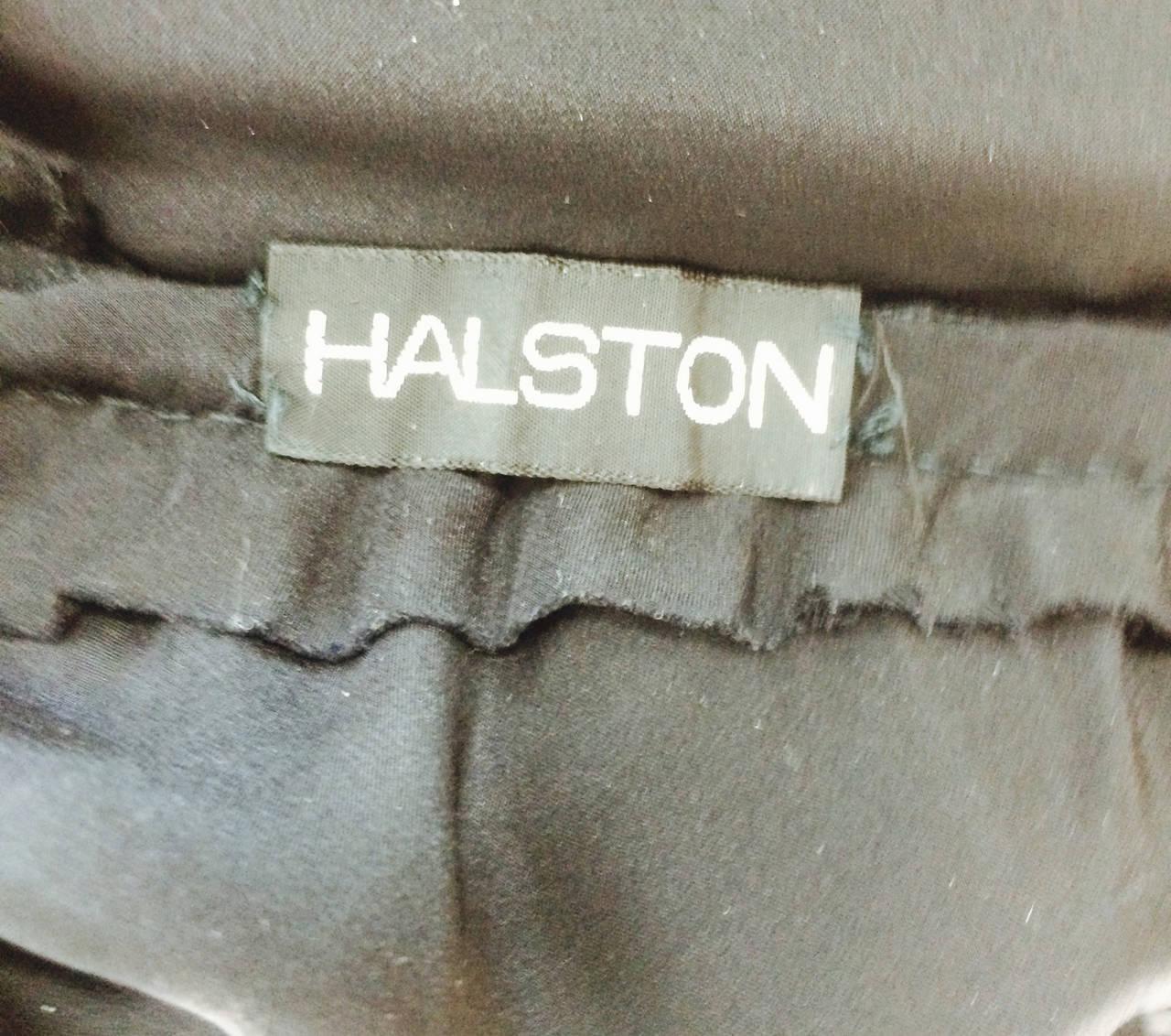 1970s Halston black silk chiffon & silk charmeuse bias cut cocktail dress For Sale 2