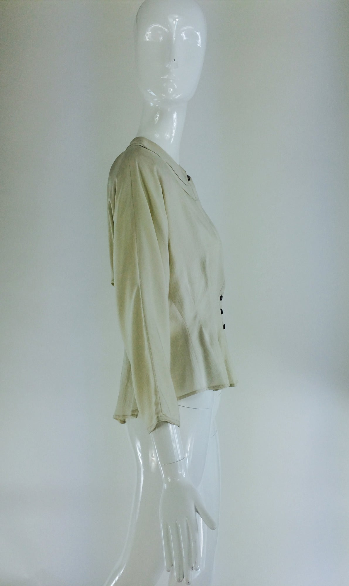 Gray Jean Palant London bone textured silk draped back blouse For Sale