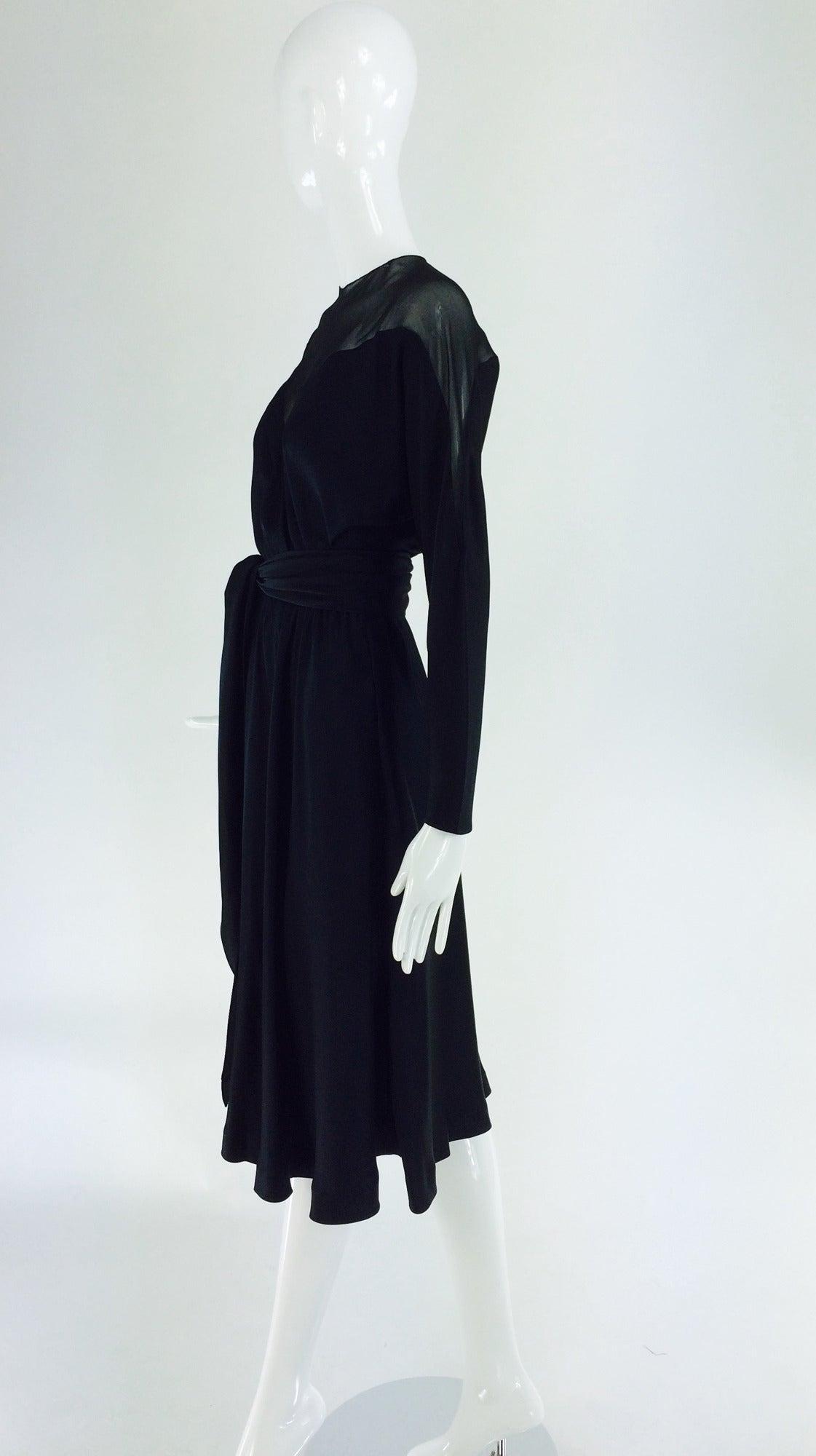Black 1970s Halston black silk chiffon & silk charmeuse bias cut cocktail dress For Sale