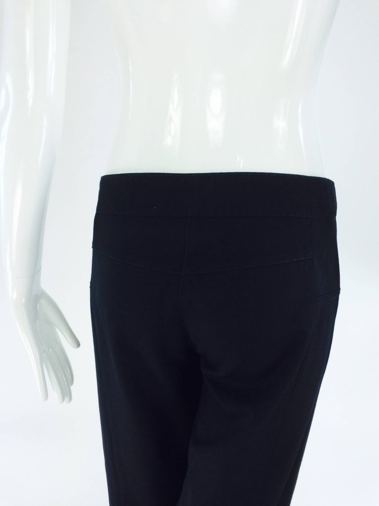 Chanel black wide leg cropped wool twill trouser 2008 7